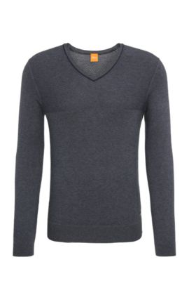 Regular-fit sweater in a cotton and silk blend, Dark Blue