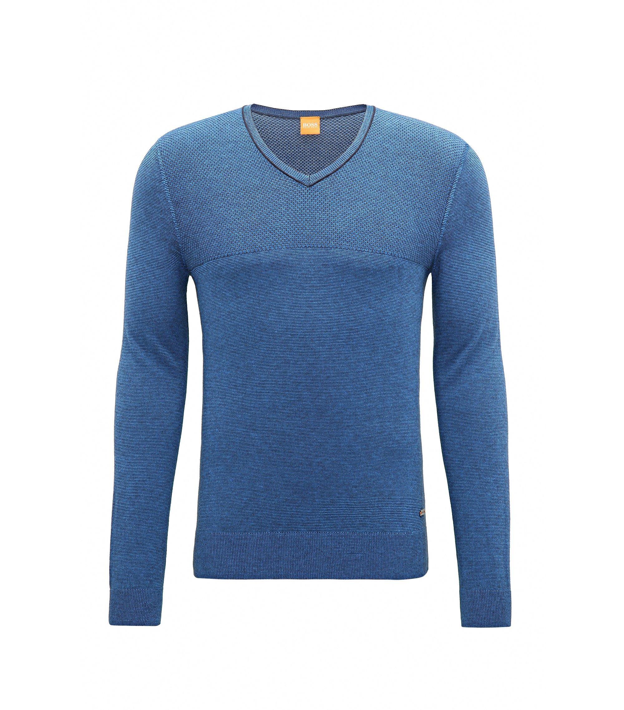Jersey regular fit en mezcla de algodón y seda, Azul
