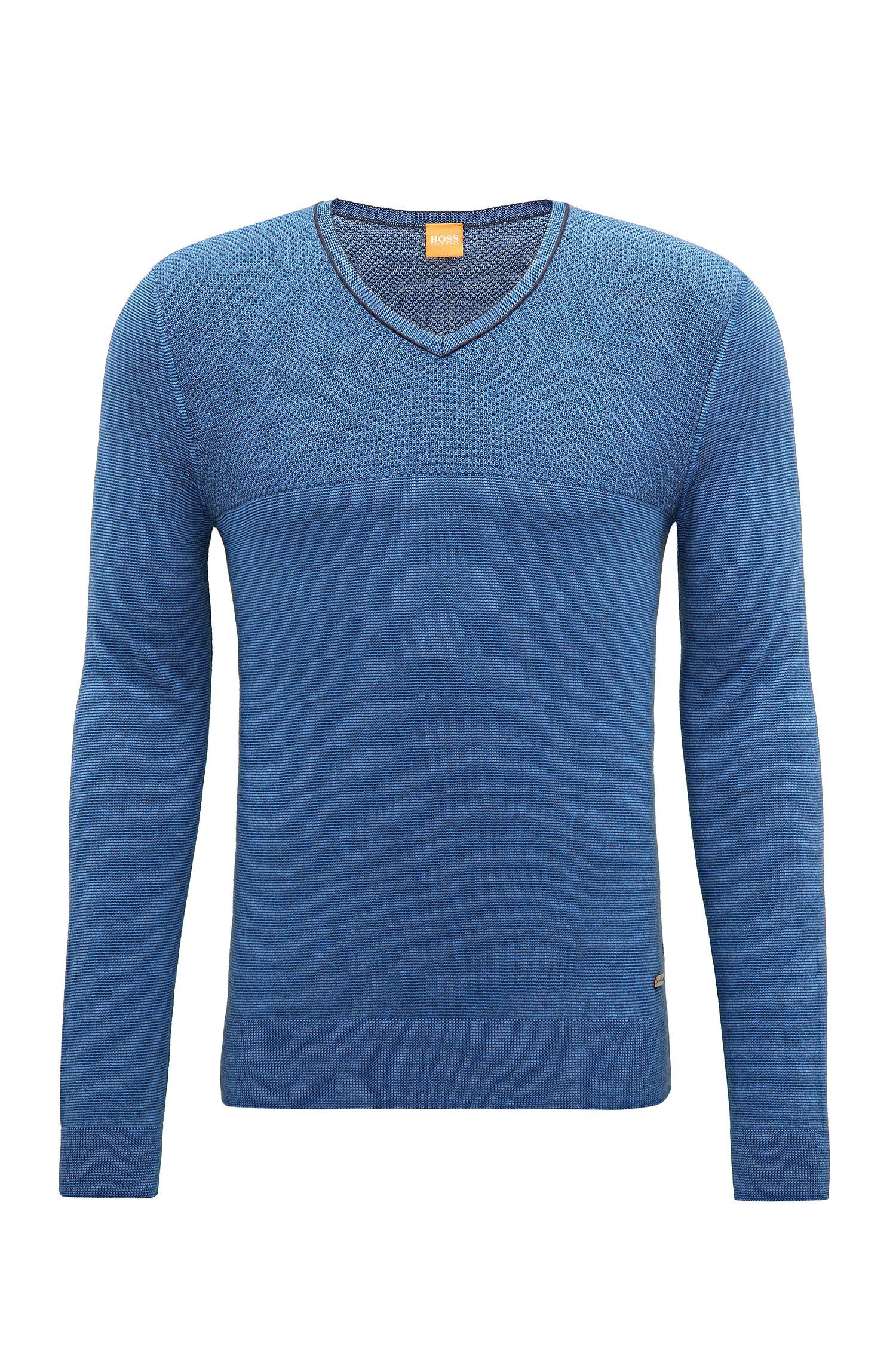 Jersey regular fit en mezcla de algodón y seda