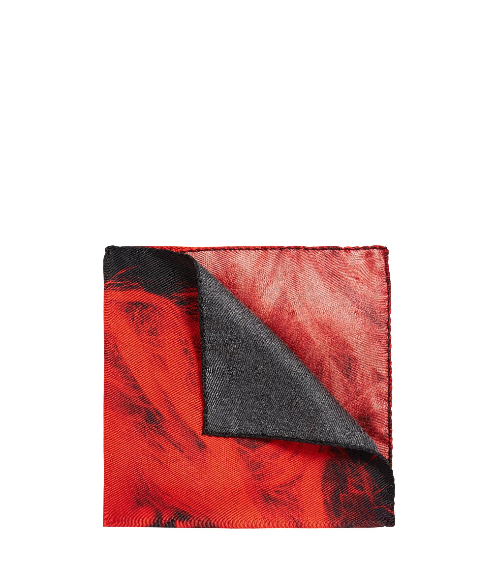 Einstecktuch aus Seide mit charakteristischem Print , Rot