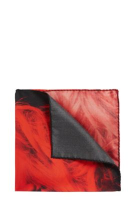 Pocket square in silk with signature print, Red