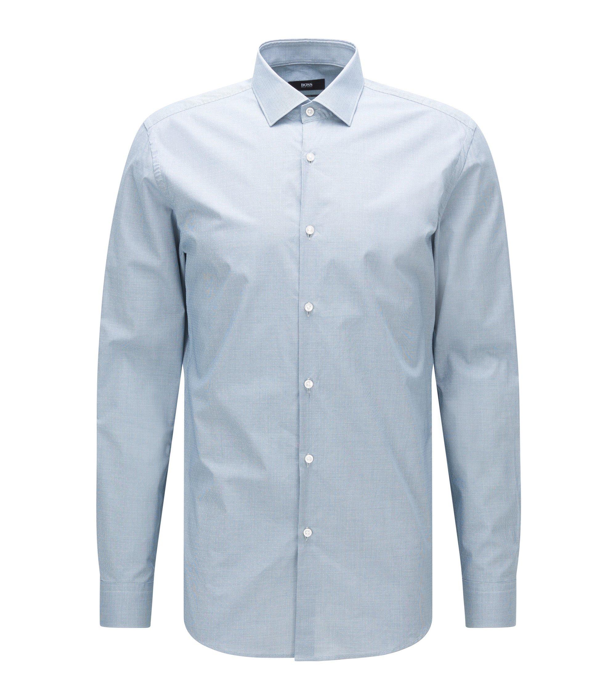 Slim-Fit Hemd aus gemusterter Baumwolle, Türkis