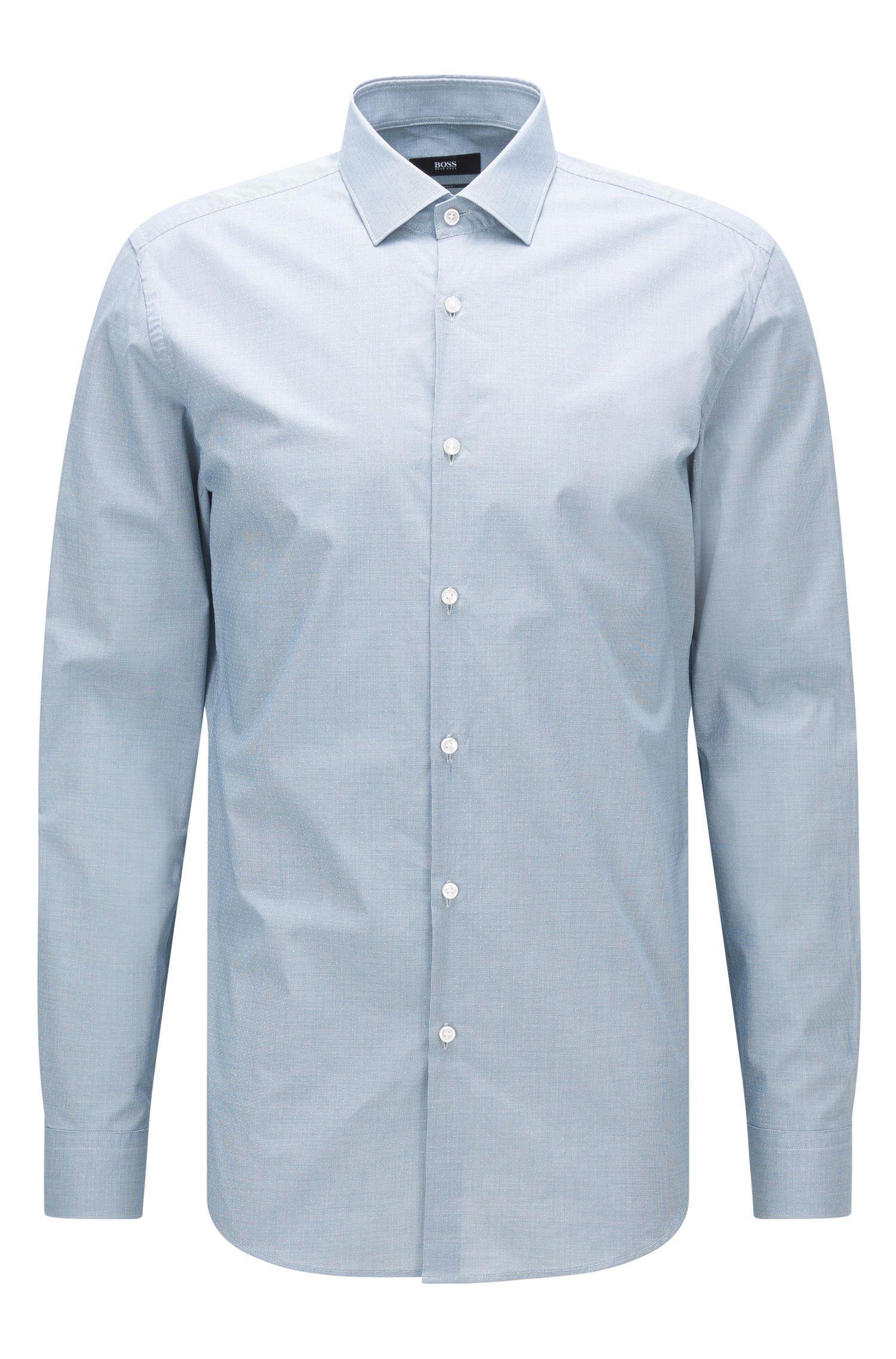 Camicia slim fit in cotone con microdisegno