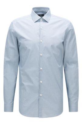 Camicia slim fit in cotone con microdisegno, Turchese