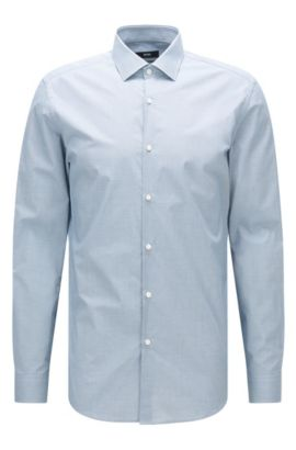 Slim-fit overhemd van katoen met microdessin, Turkoois