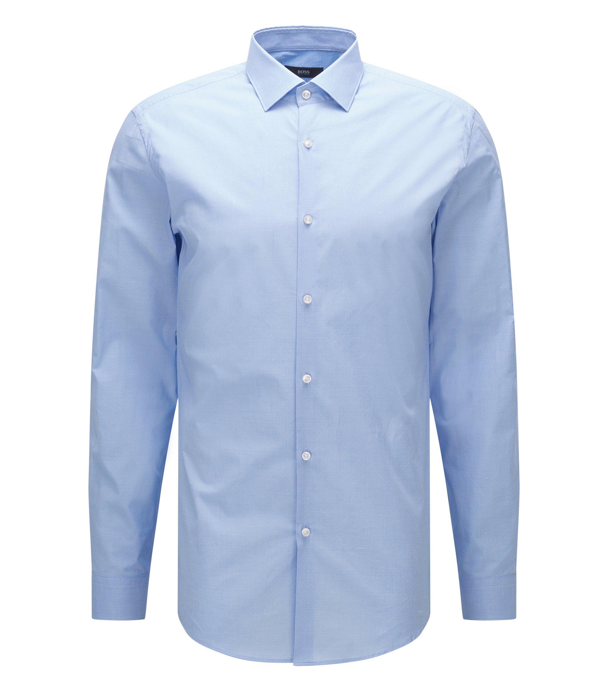 Camicia slim fit in cotone con microdisegno, Celeste