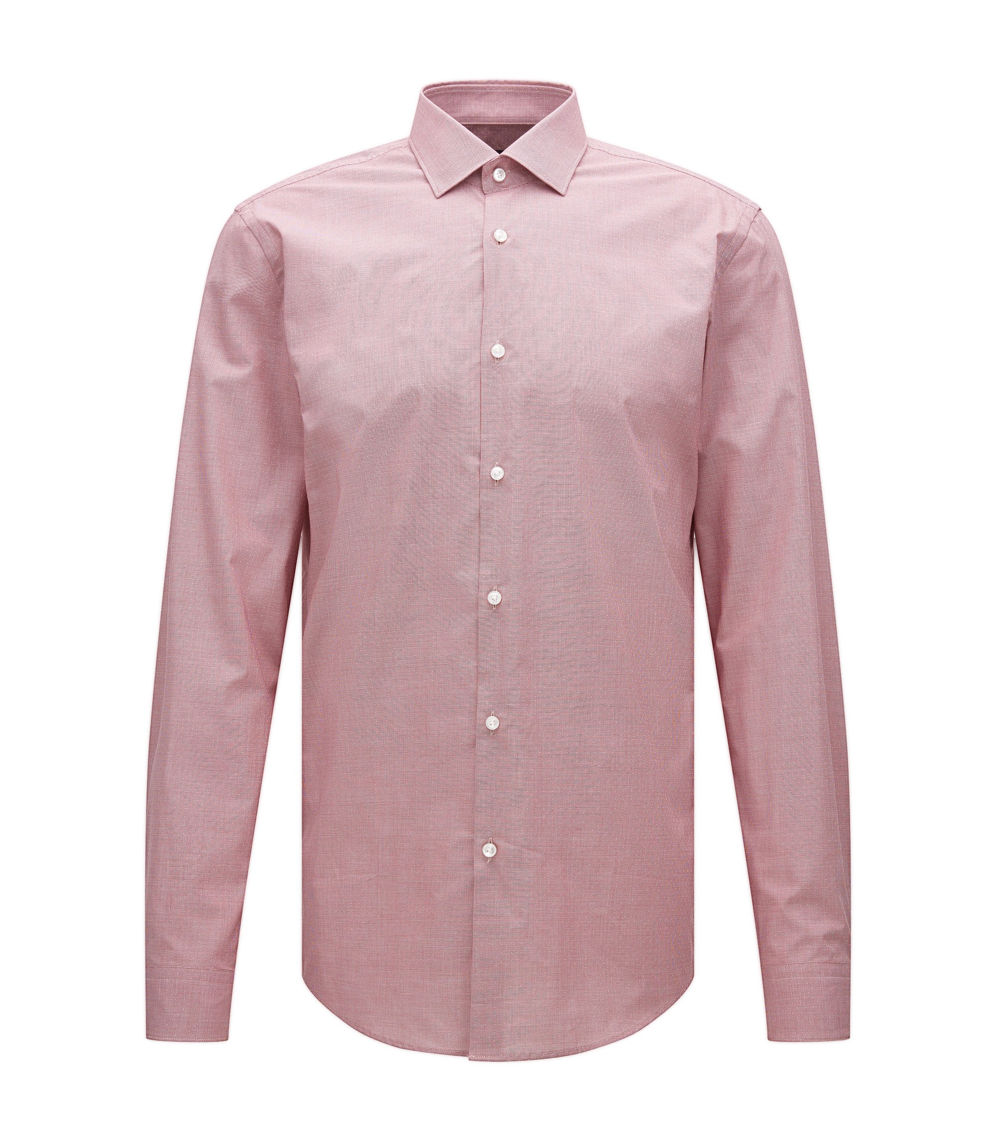 Slim-fit cotton shirt with a micro pattern, Red