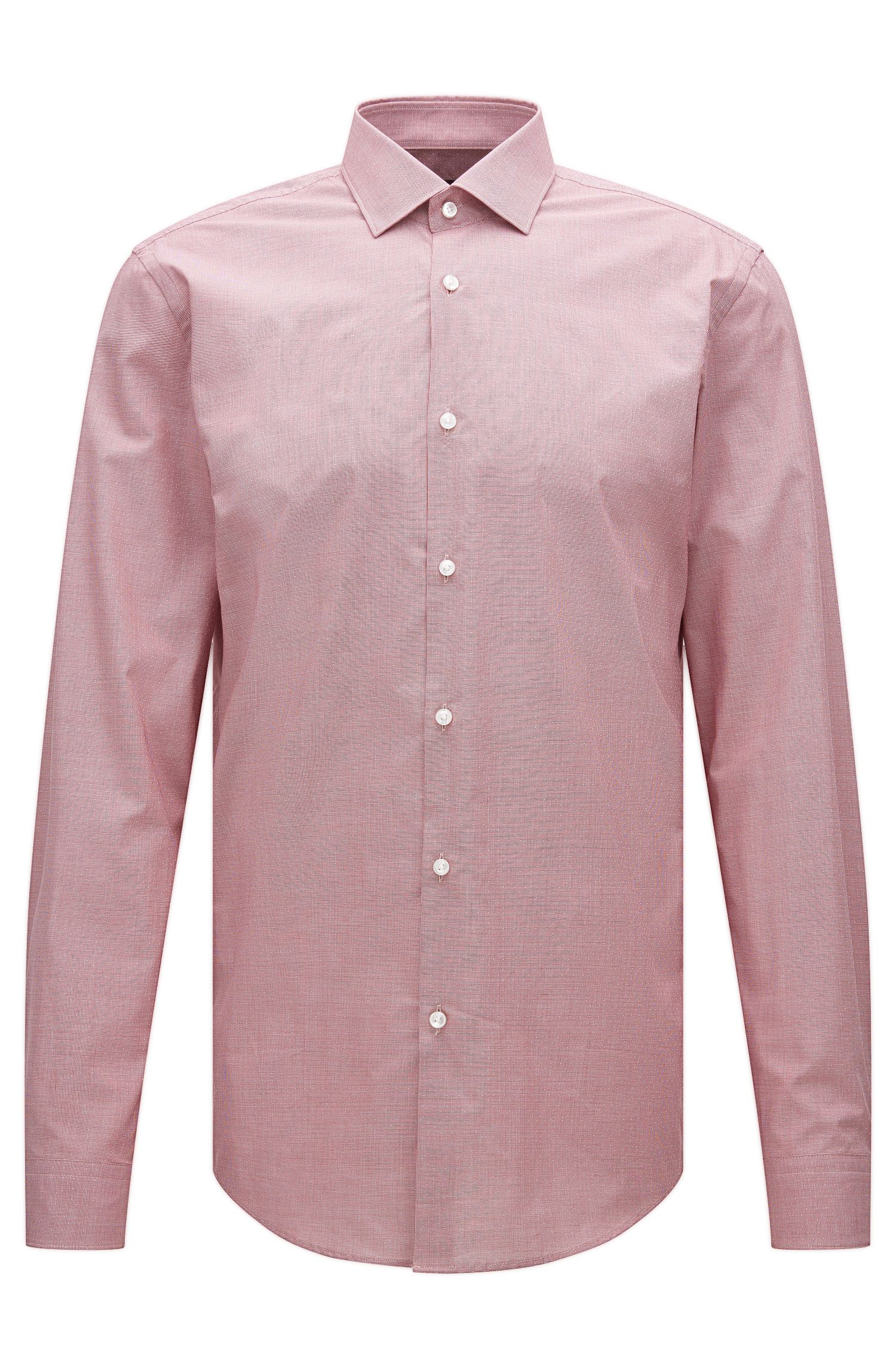 Slim-fit cotton shirt with a micro pattern