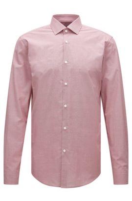 Camicia slim fit in cotone con microdisegno, Rosso
