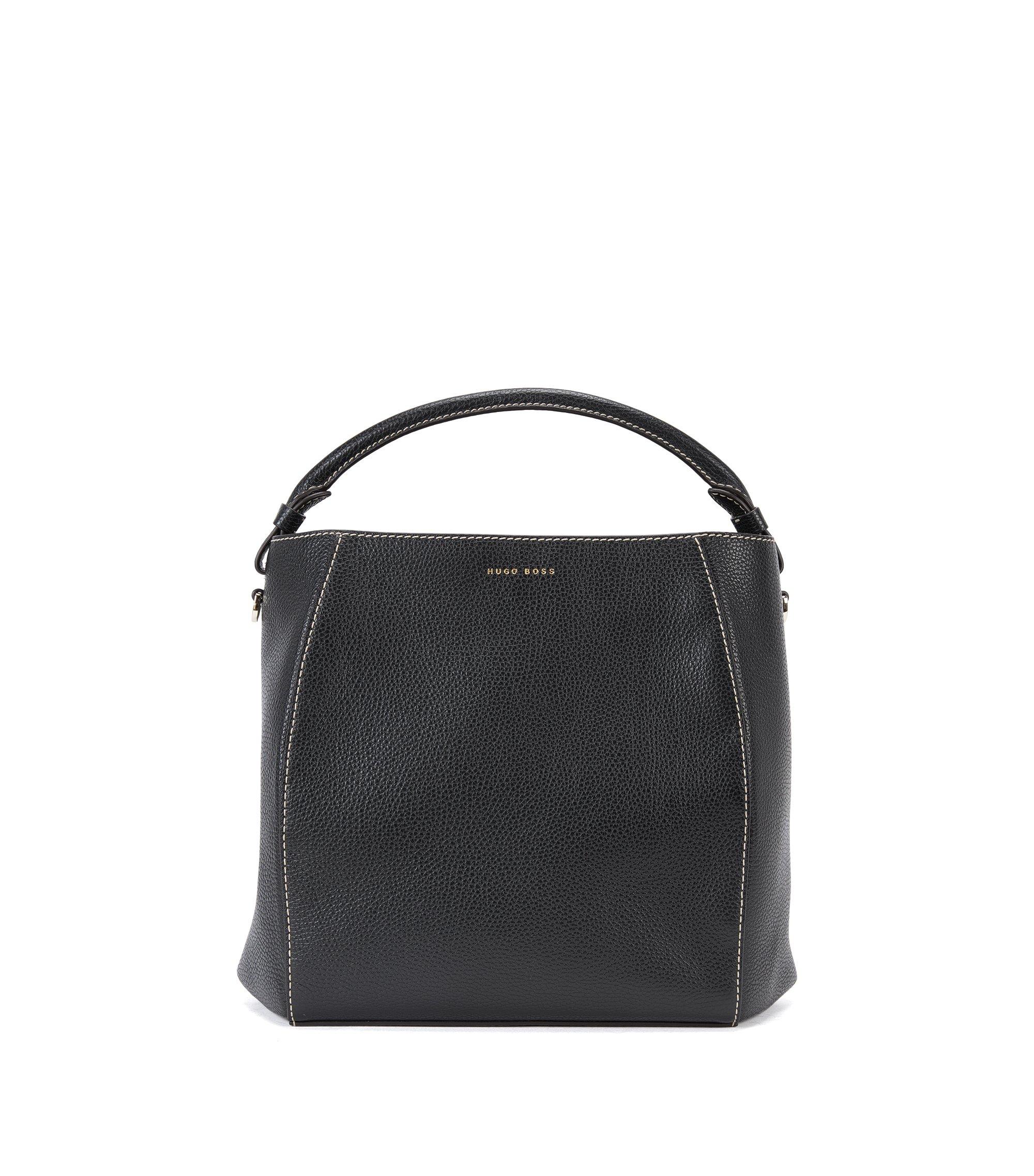 Bucket bag in rich Italian leather, Black