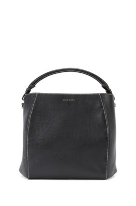 Bucket bag in rich Italian leather, Black