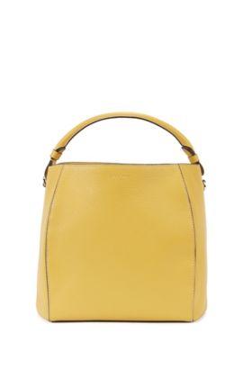 Bolso con cordón en lujosa piel italiana, Amarillo