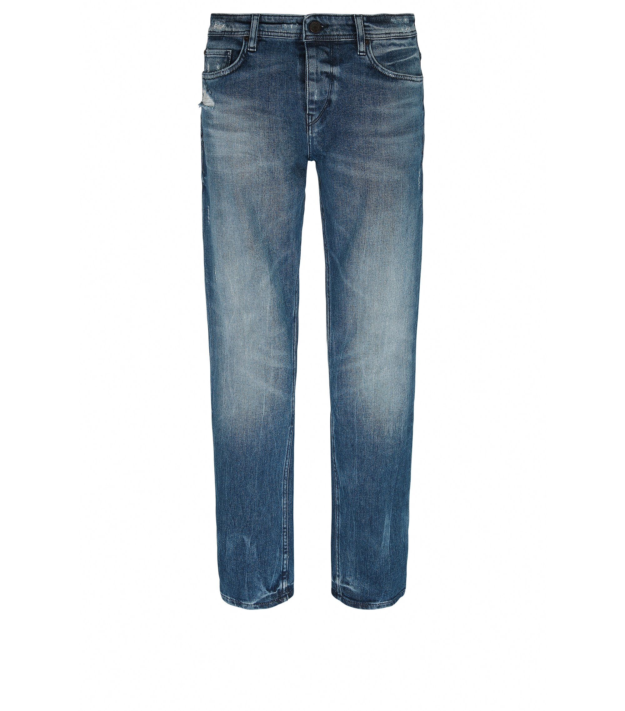 Tapered-fit jeans van stretchdenim in used-look, Blauw