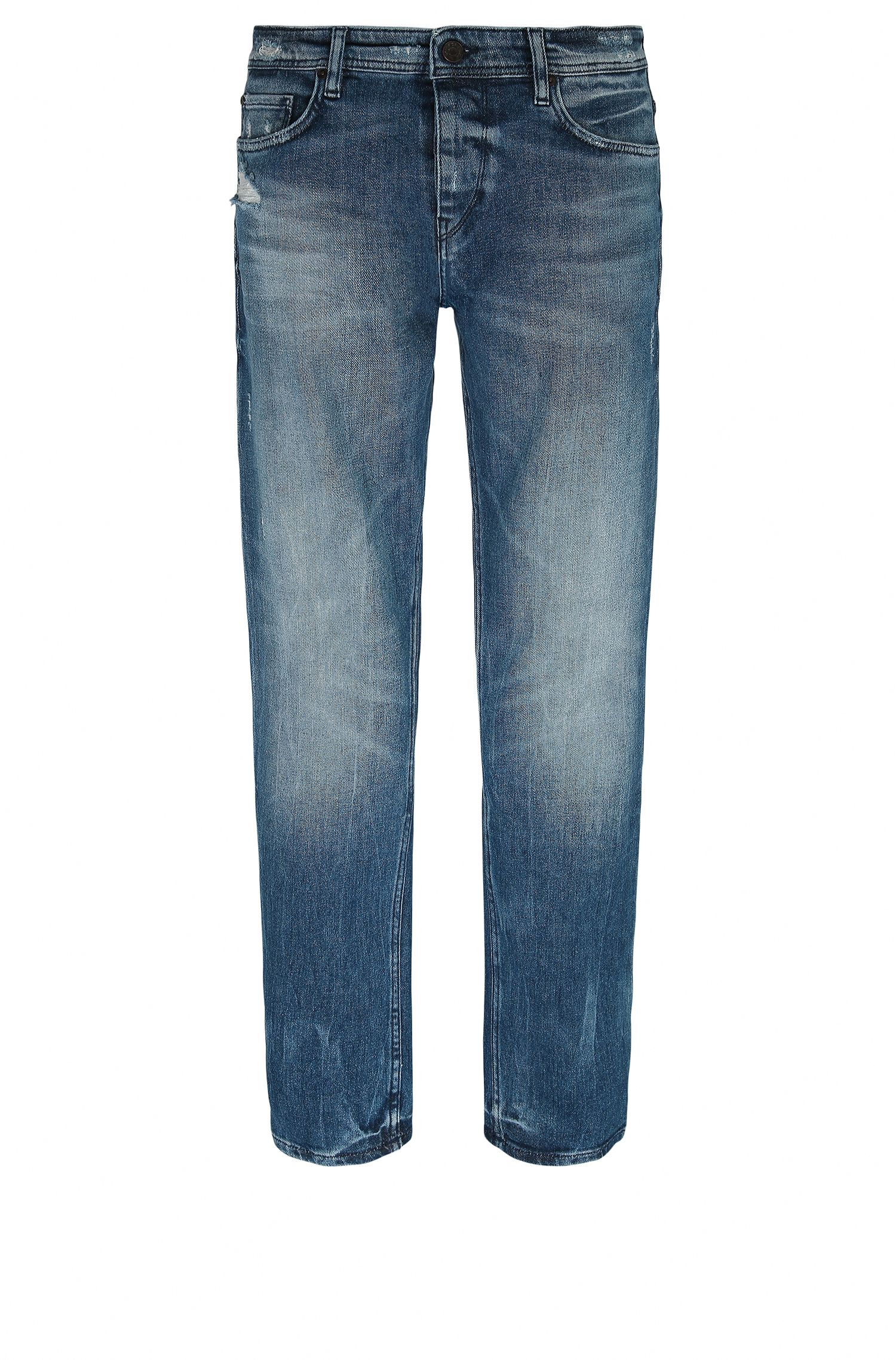 Tapered-fit jeans in distressed stretch denim