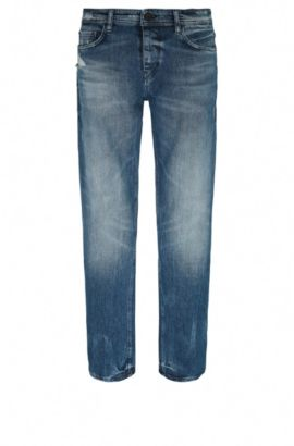 Tapered-fit jeans in distressed stretch denim, Blue