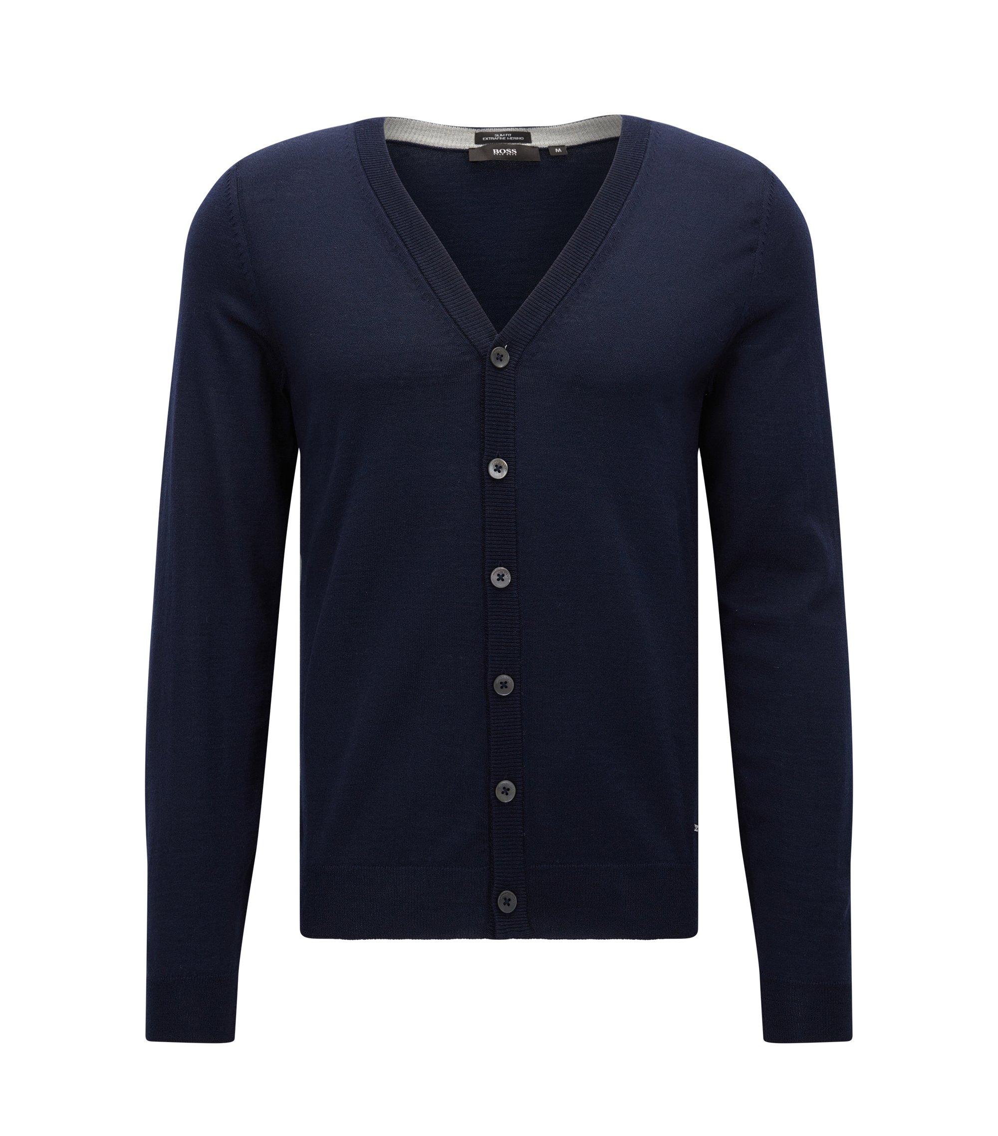 Cardigan Slim Fit à colV en laine mérinos extra fine, Bleu foncé