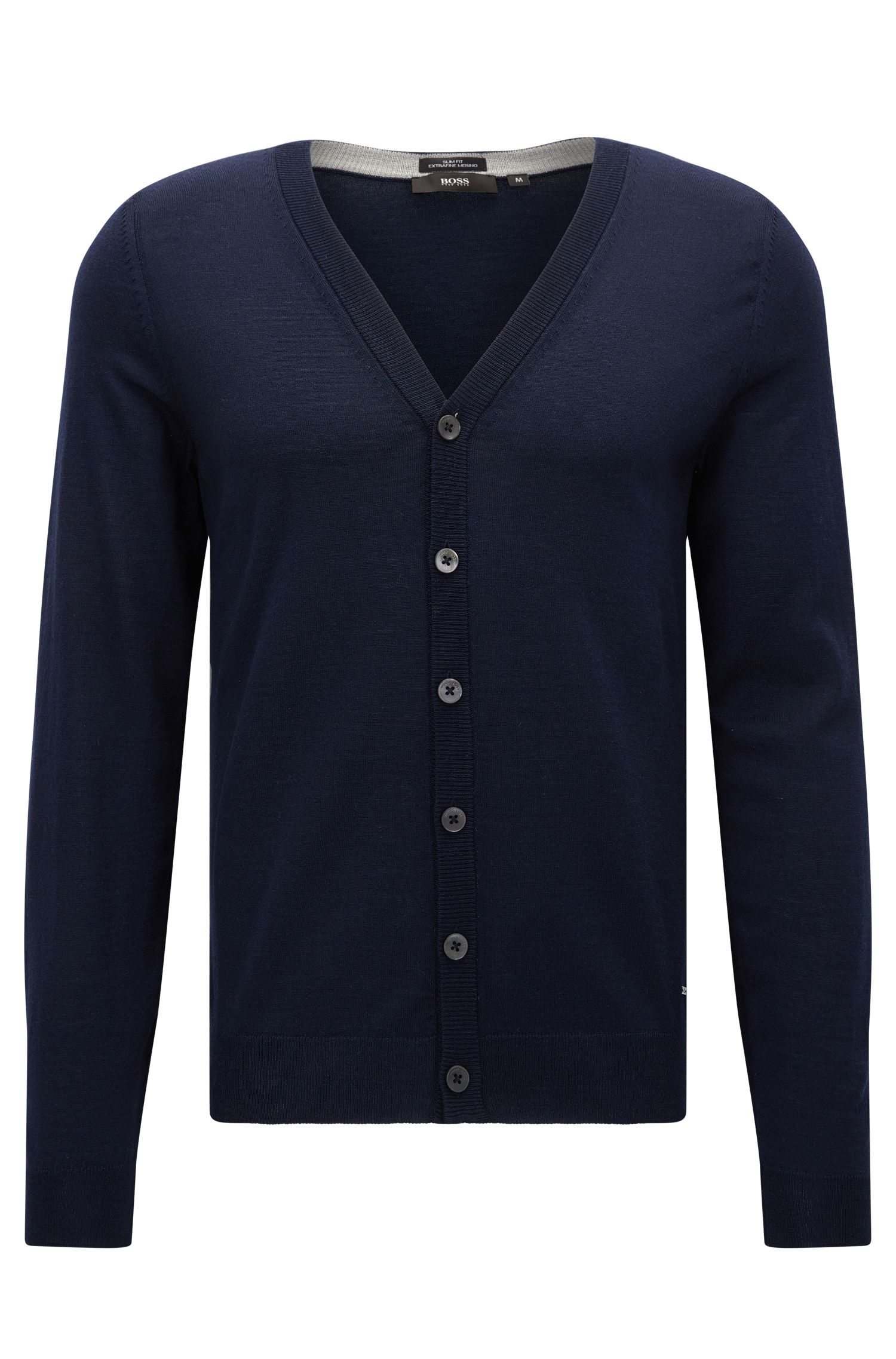 Slim-fit v-neck cardigan in extra-fine merino wool