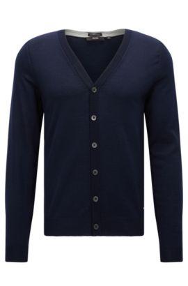Slim-fit vest van extra fijne merinowol met V-hals, Donkerblauw