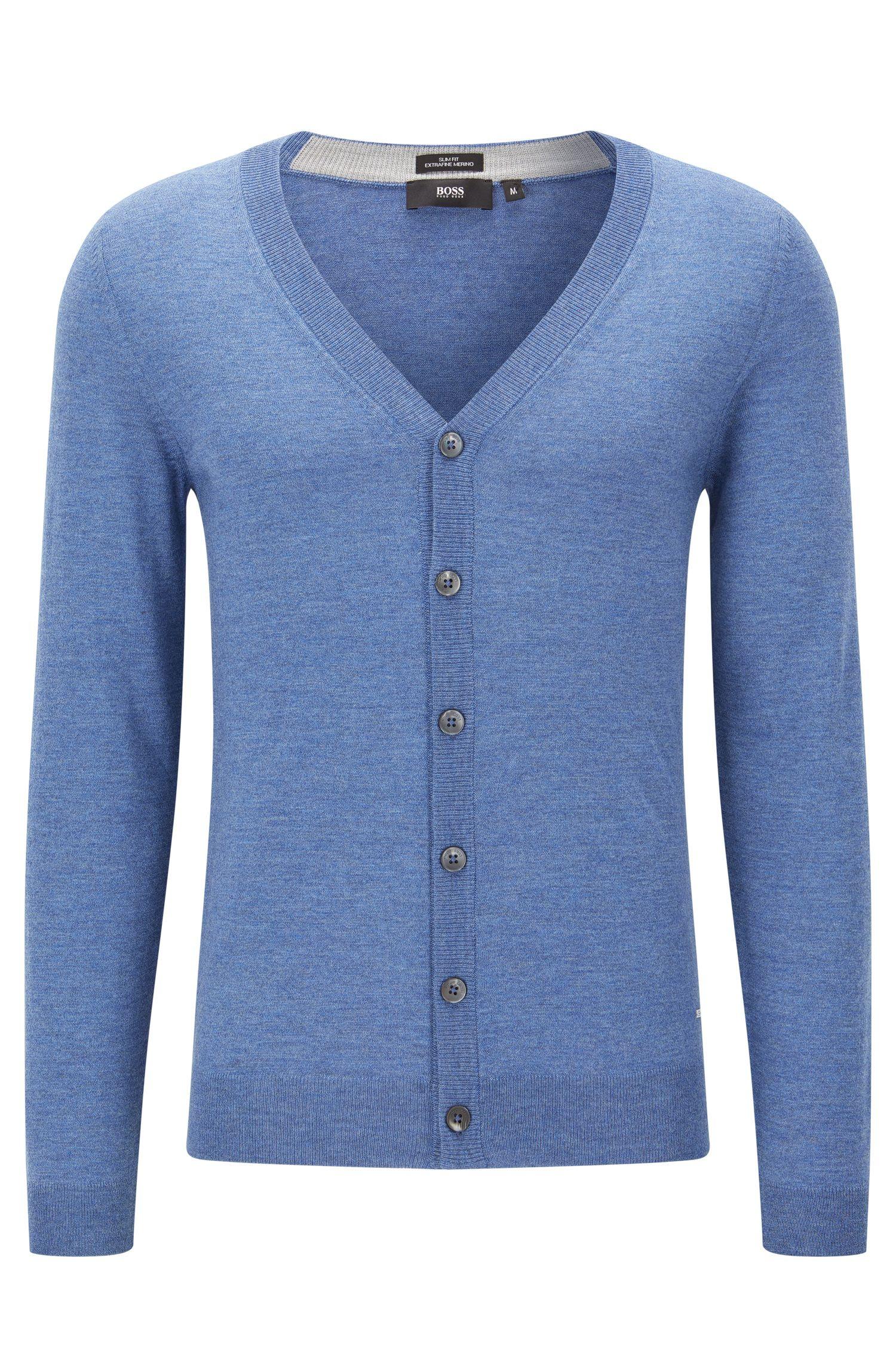 Slim-Fit Cardigan mit V-Ausschnitt aus reiner Merinowolle, Blau