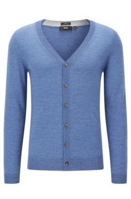 Slim-fit vest van extra fijne merinowol met V-hals, Blauw