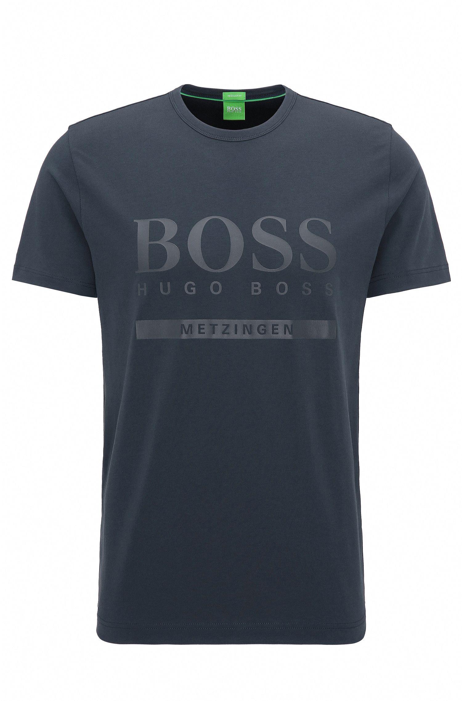 T-shirt regular fit con logo in cotone elasticizzato