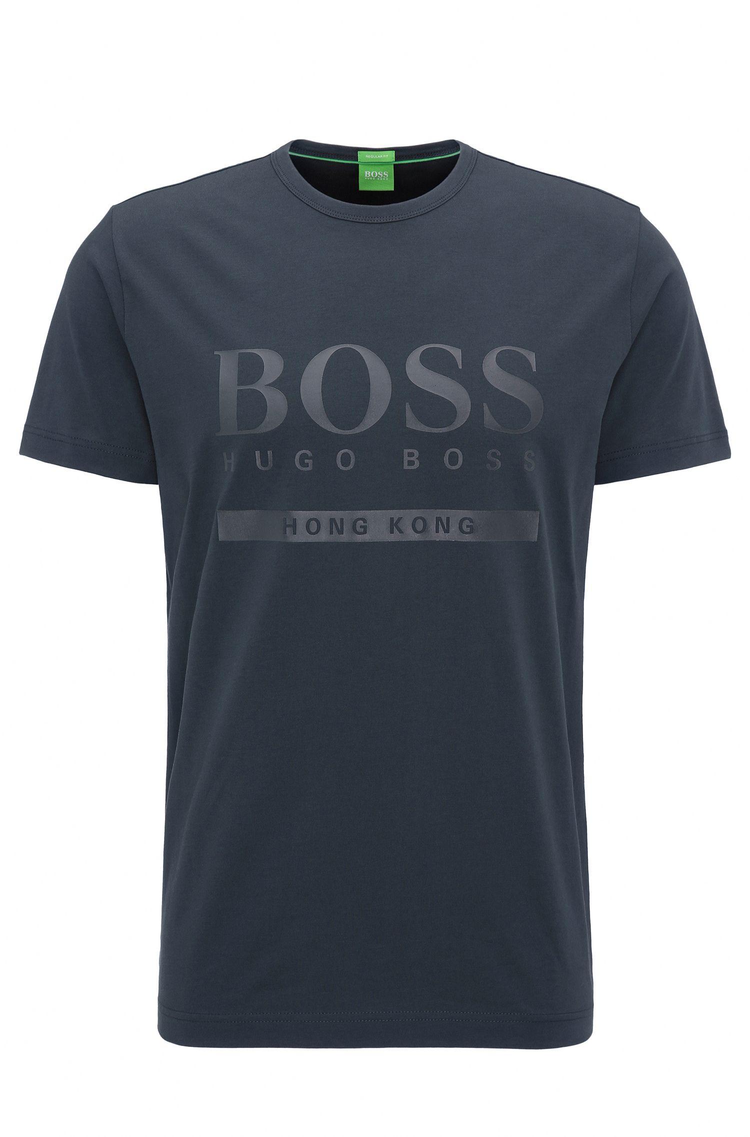 Regular-Fit T-Shirt aus elastischer Baumwolle mit Logo
