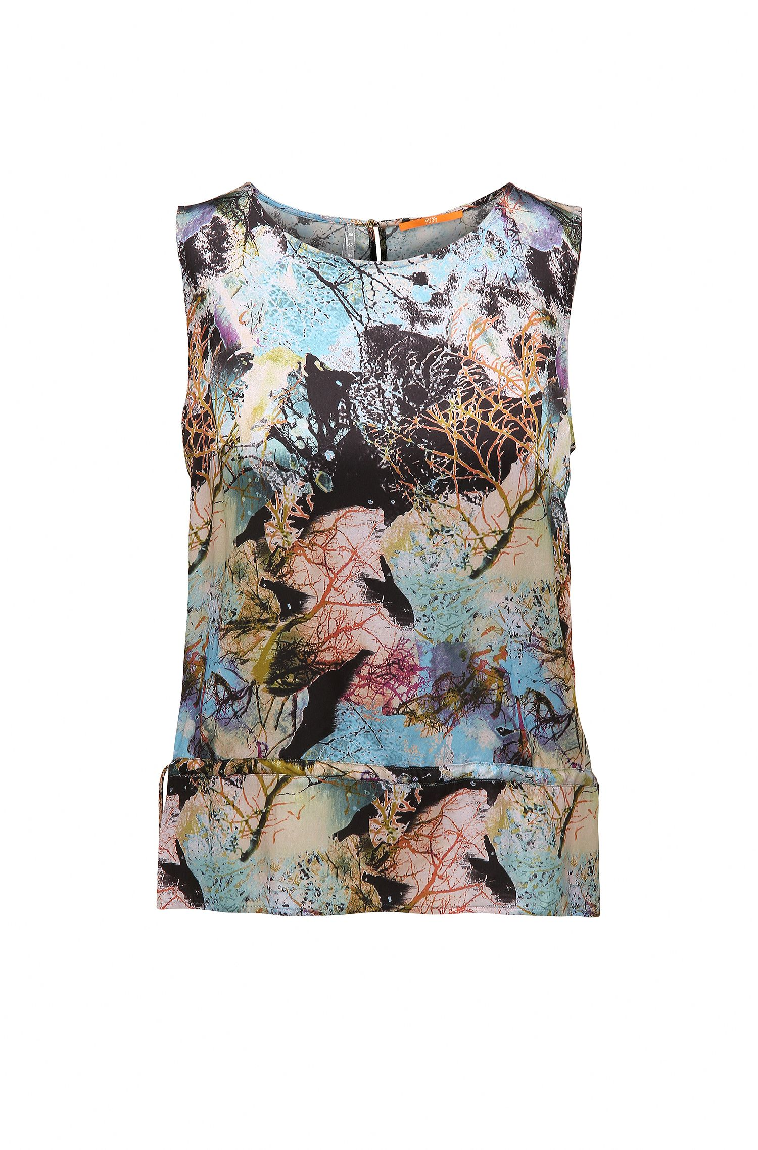 Regular-fit printed top in soft voile