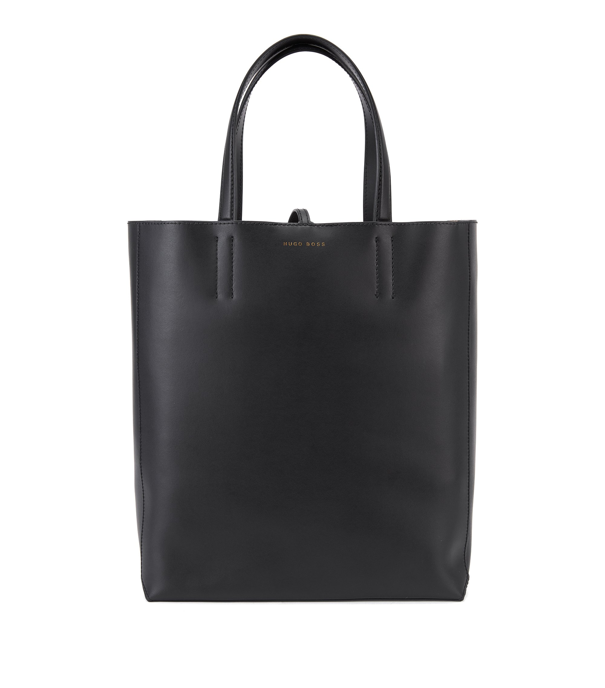 Geräumige Tote Bag aus italienischem Leder, Schwarz