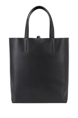 Spacious tote bag in smooth Italian leather, Black