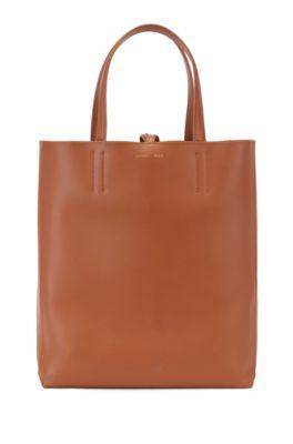 Geräumige Tote Bag aus italienischem Leder, Braun