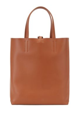 Spacious tote bag in smooth Italian leather, Brown