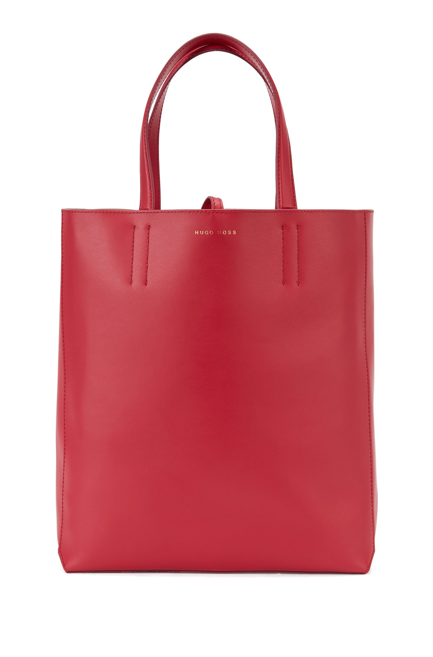 Spacious tote bag in smooth Italian leather