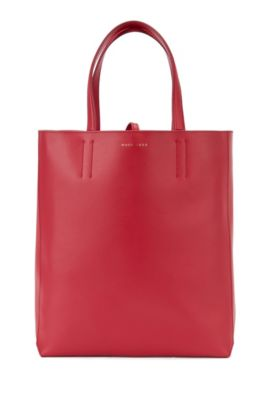 Spacious tote bag in smooth Italian leather, Red