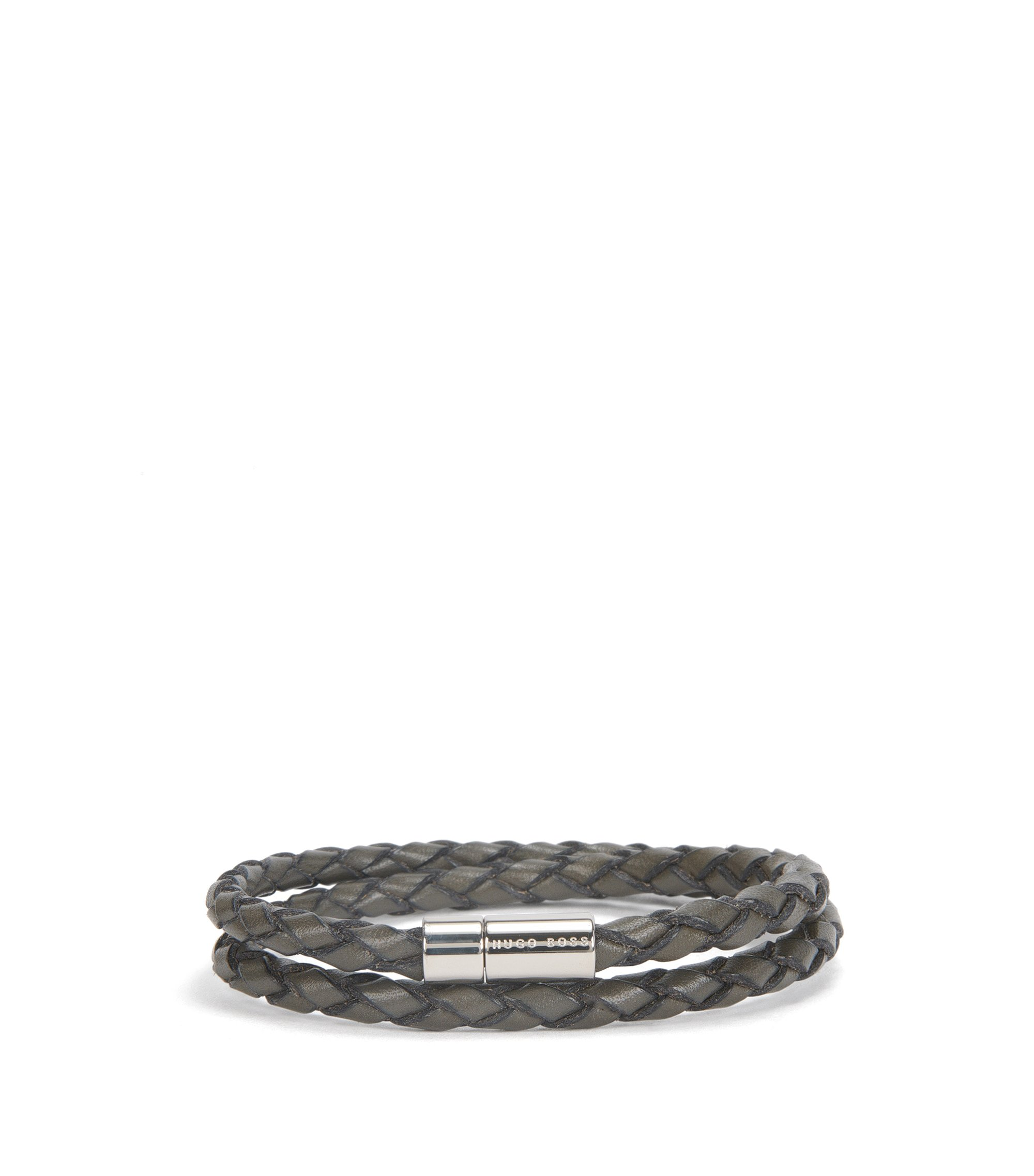 Braided leather bracelet with snap metal closure, Light Grey