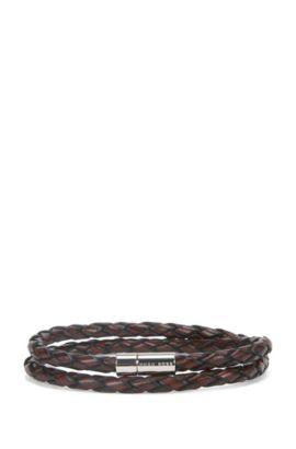 Bracelet tressé en cuir avec fermoir métallique à pression, Marron