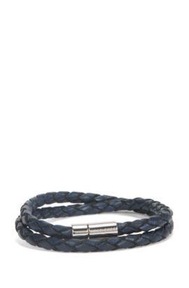 Gevlochten armband van leer met metalen drukknoopsluiting, Donkerblauw