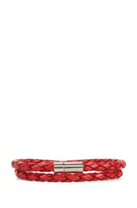 Braided leather bracelet with snap metal closure, Red