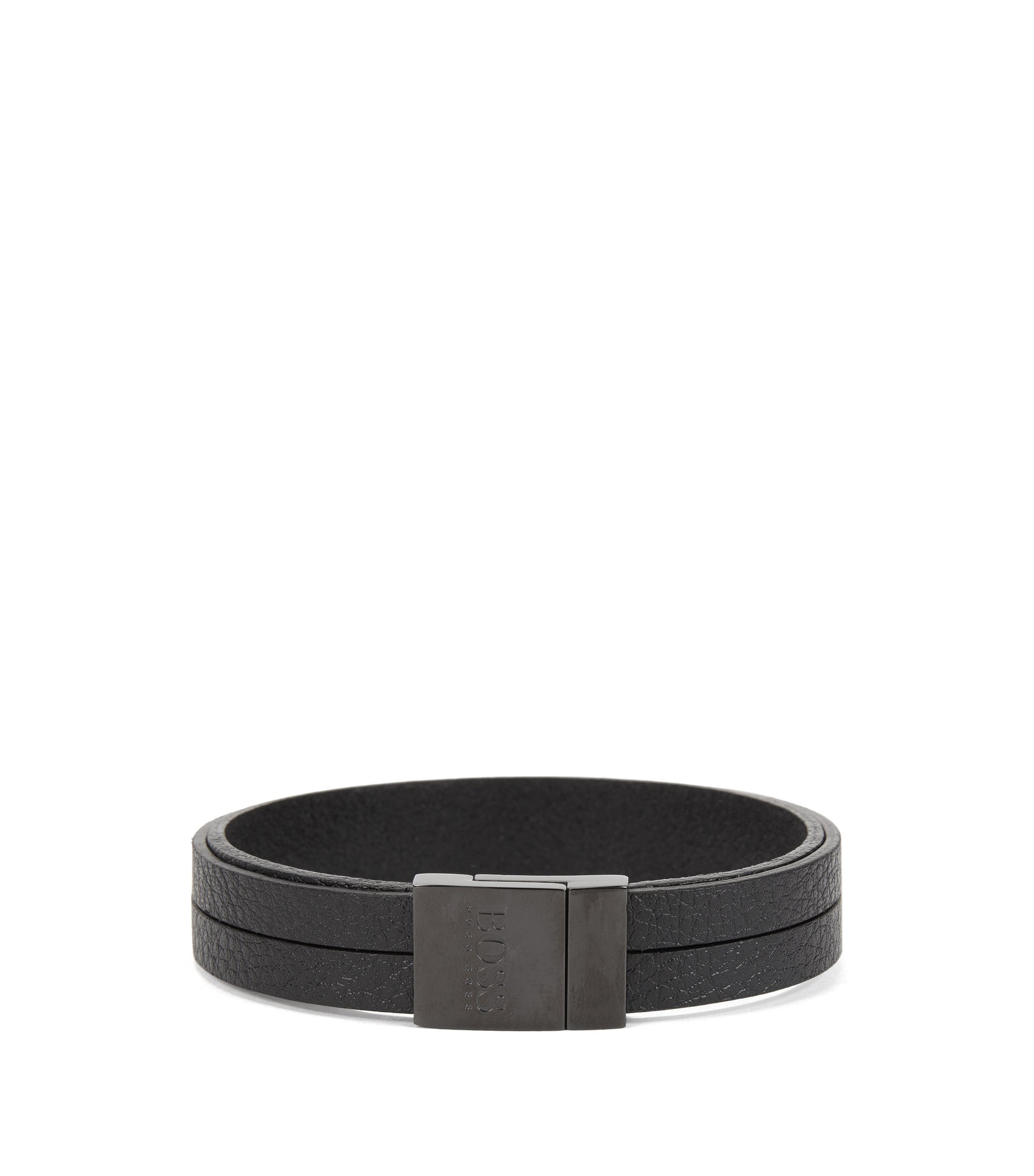 Leather bracelet with magnetic closure, Black