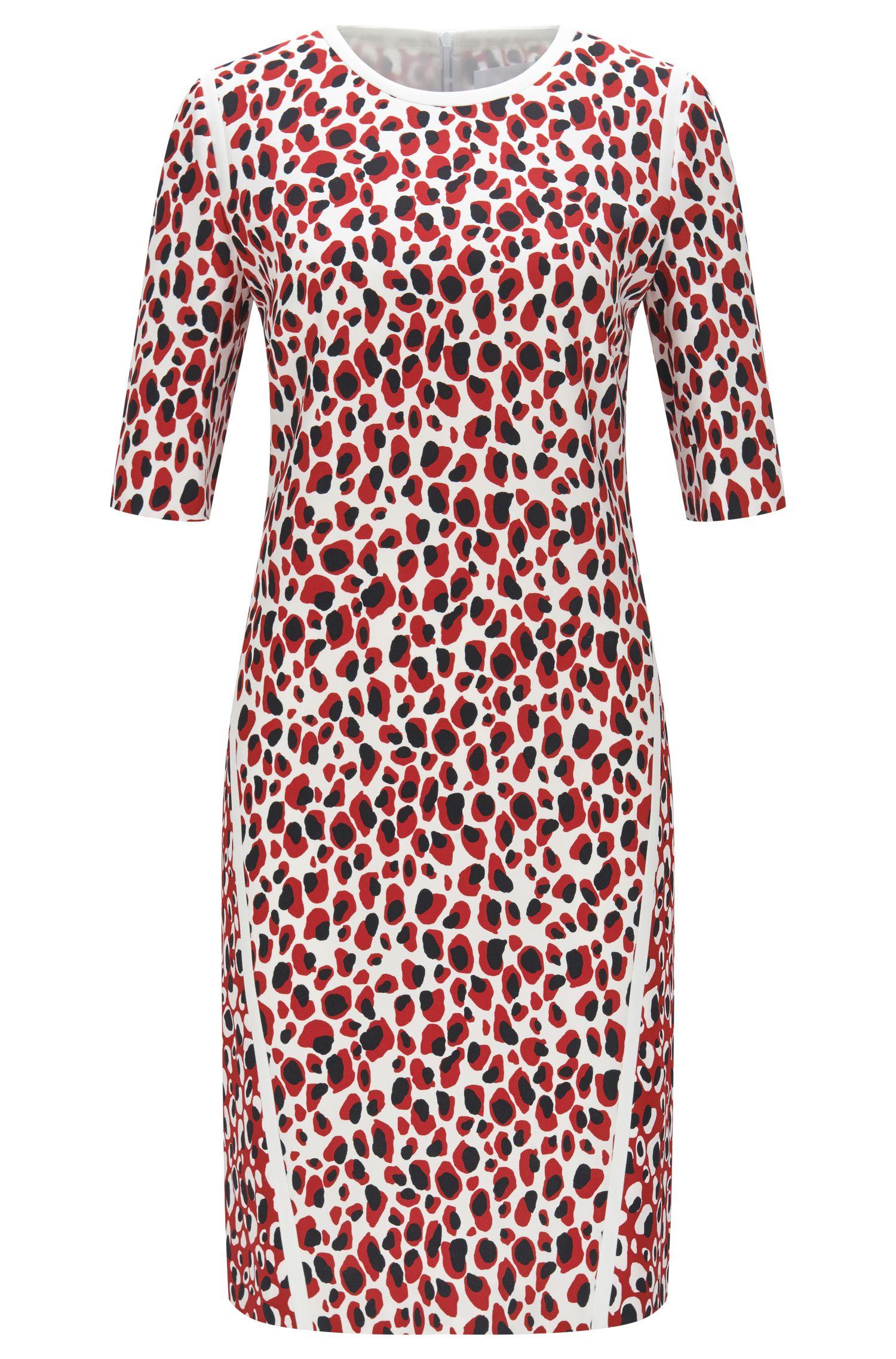 Slim-Fit Kleid mit unterschiedlichen Leoparden-Prints