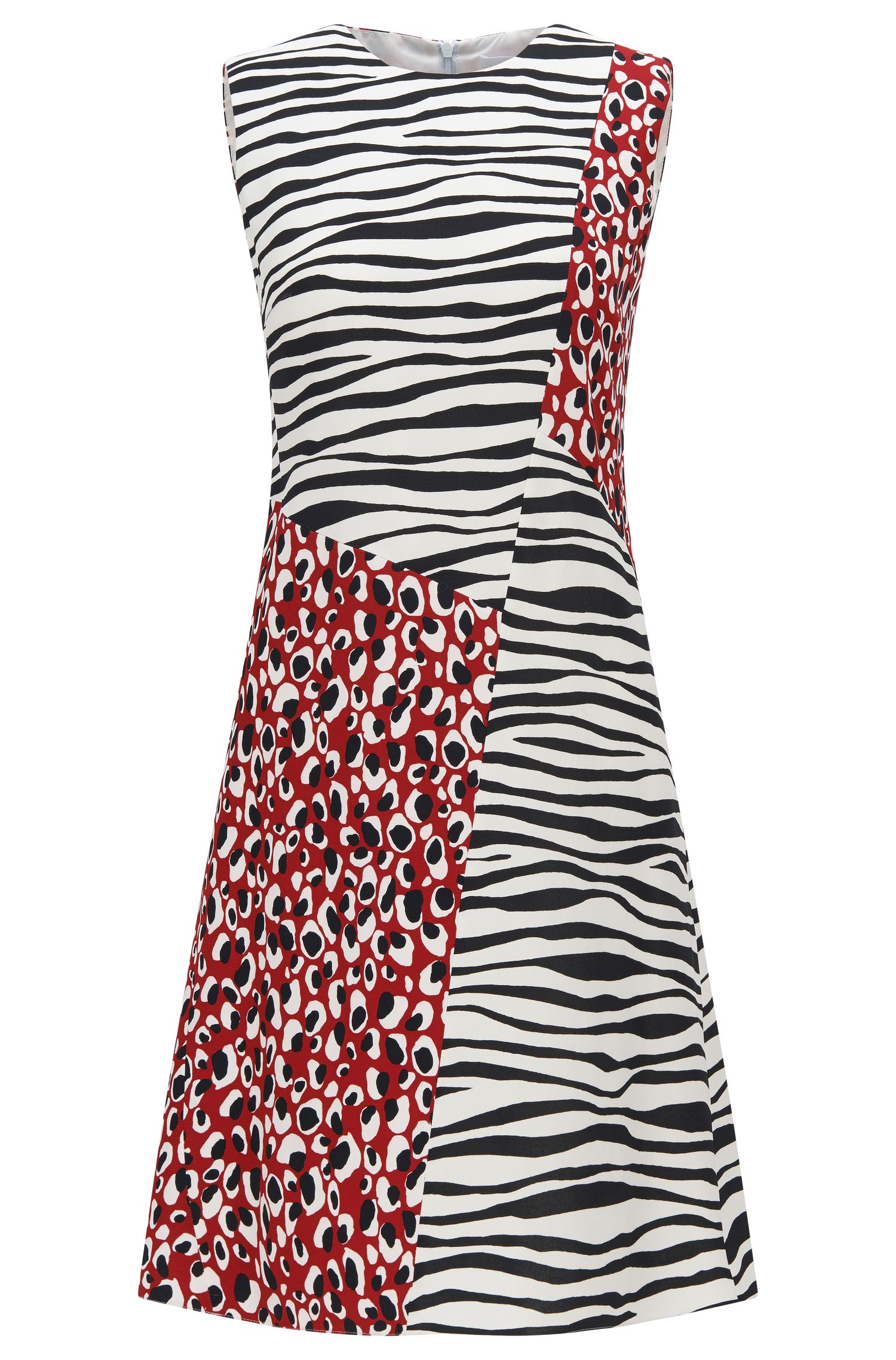 Regular-fit dress with spliced prints