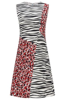 Regular-fit dress with spliced prints, Patterned