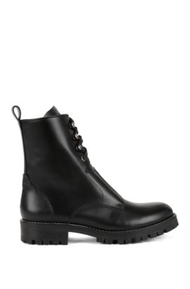 Lace-up boots in Italian leather, Black