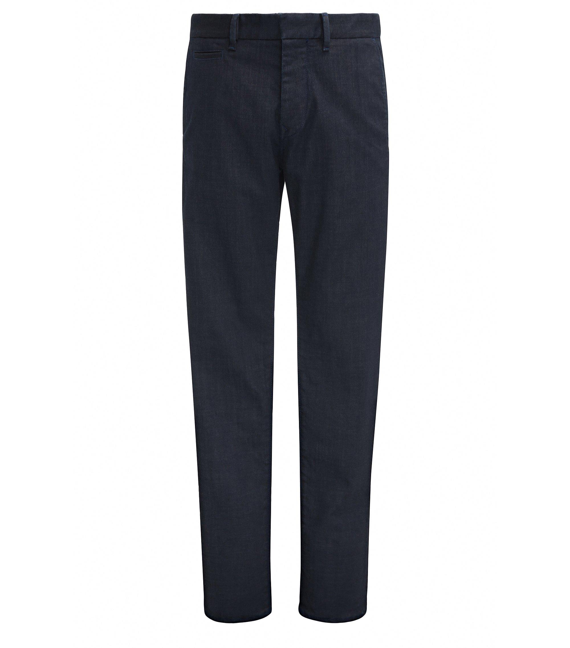Tapered-Fit Jeans aus beschichtetem Denim, Dunkelblau