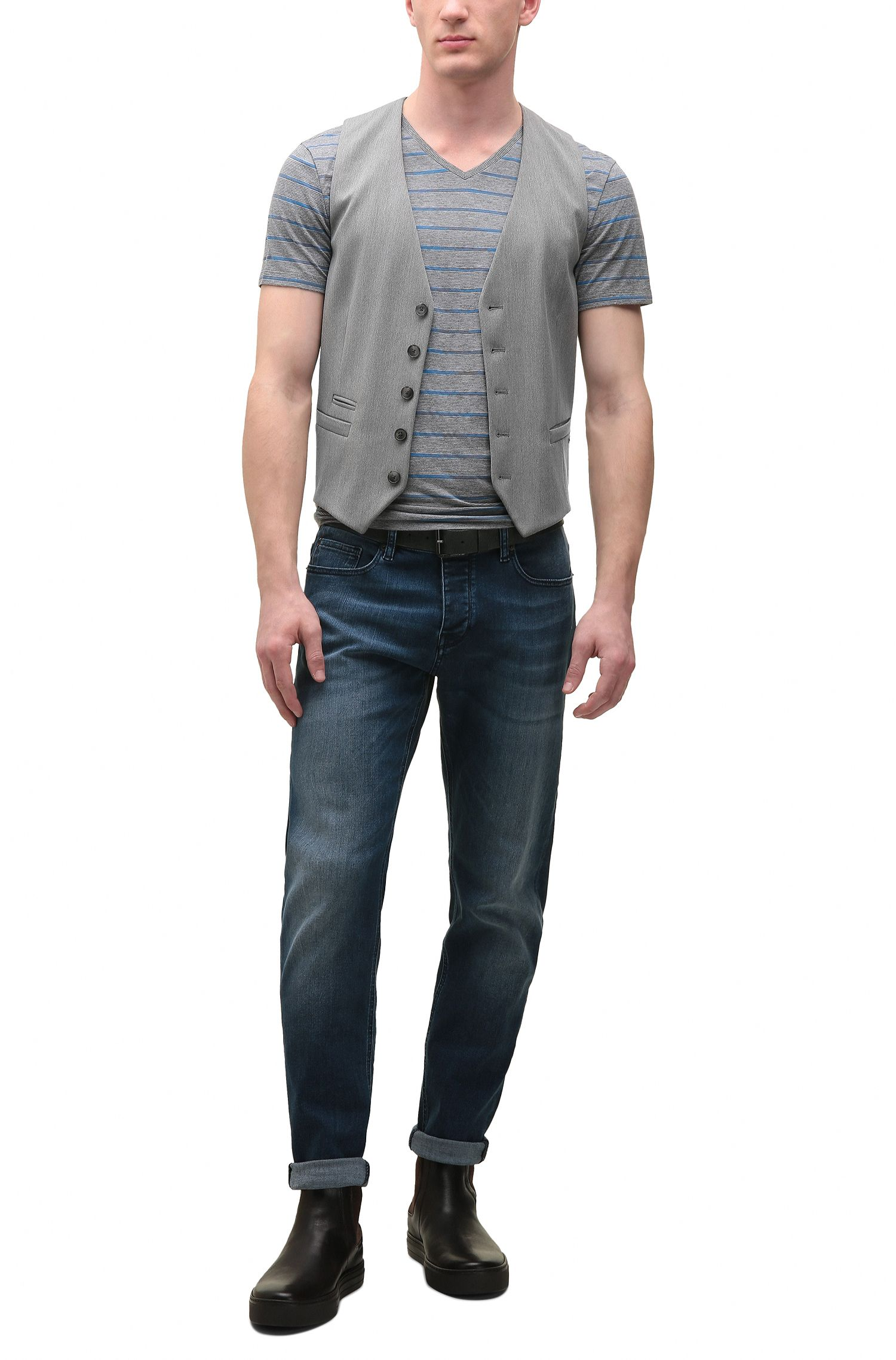 Jeans Tapered Fit en denim super stretch, Bleu