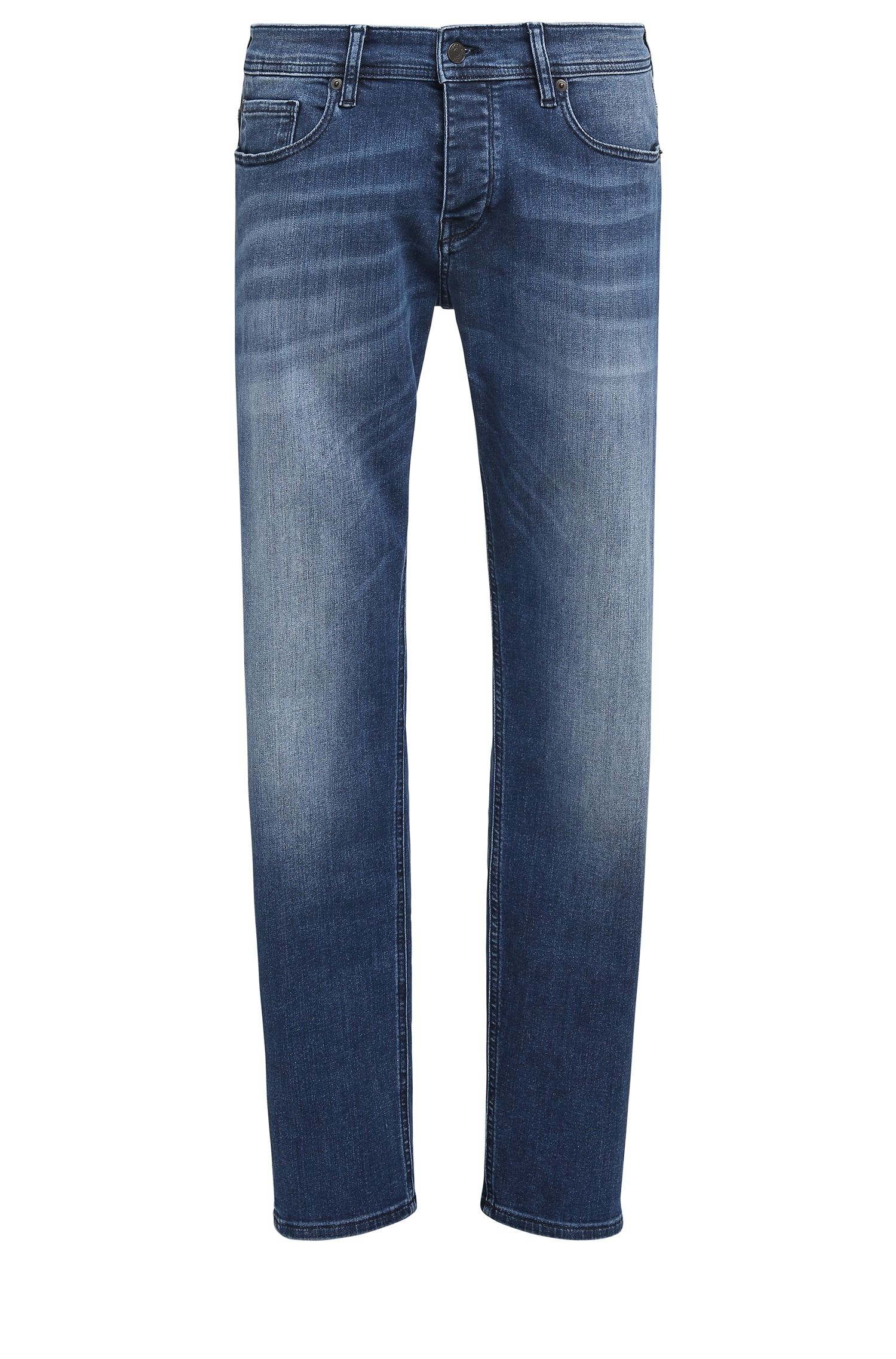 Tapered-fit jeans in super-stretch denim, Blue