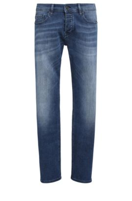 Jeans tapered fit in denim super elasticizzato, Blu