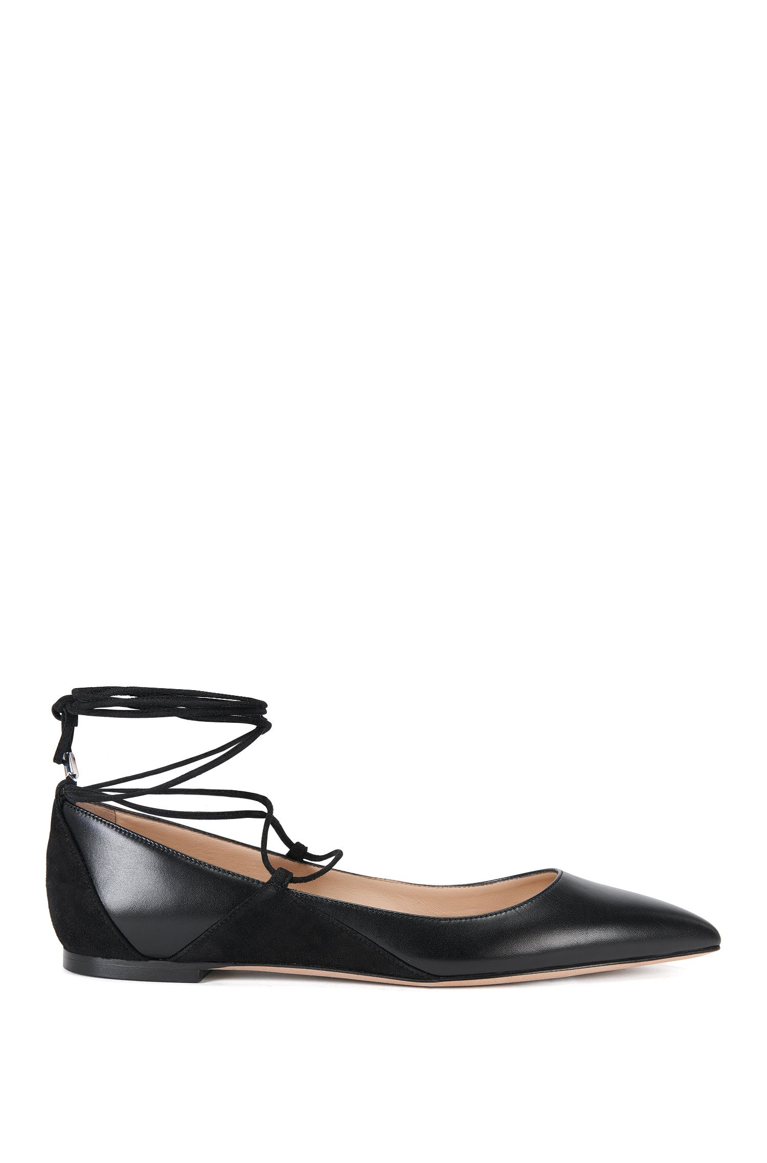 Ballerina flats in leather with lace-up detail by HUGO Woman
