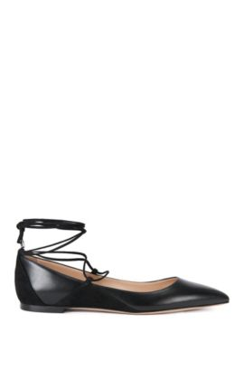 Ballerina flats in leather with lace-up detail , Black