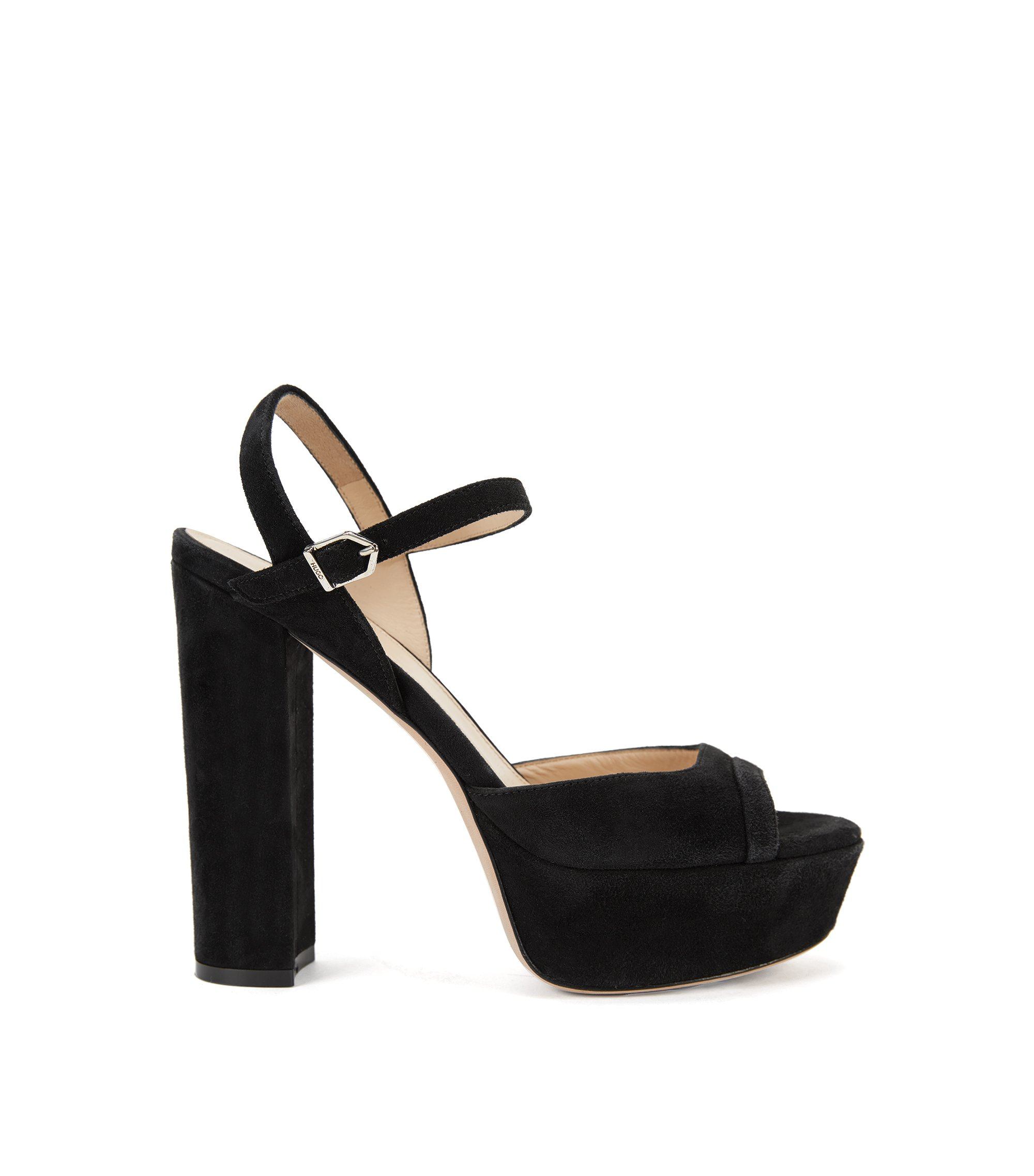 Platform sandals in suede with ankle strap, Black