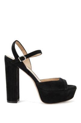 Sandalias de plataforma en ante con tira en el tobillo, Negro